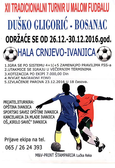 Plakat-Bosanac474 Turnir u malom fudbalu, kotizacija 7.000