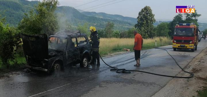 IL-Izgoreo-auto-naslovna-2 Haos na putu - zapalila se ''Lada-Niva''