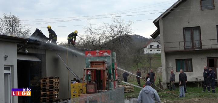 IL-Požar-Milovanovići- Izgoreo magacin - Vatrogasci sprečili da plamen proguta kuću i prodavnicu (VIDEO)