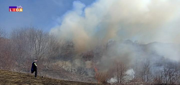 Il-Pozar-Milinkovici- Gori iznad Ivanjice - Volonteri Crvenog krsta i vatrogasci gase požare (VIDEO)