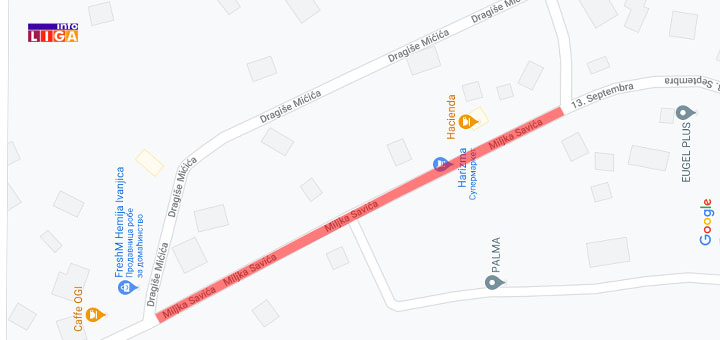 IL-miljka-savica-kart Zbog neophodnih radova 15. i 17. aprila zatvoren deo ulice Miljka Savića